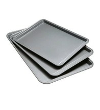 Set Of 3 Non-Stick Cookie Sheet Baking Pan Bakeware Chef Steel Oven Tray... - $21.99
