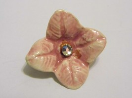 Vintage Pink Flower Diamond Tone Gem Brooch Pin Costume Fashion Jewelry - $8.66