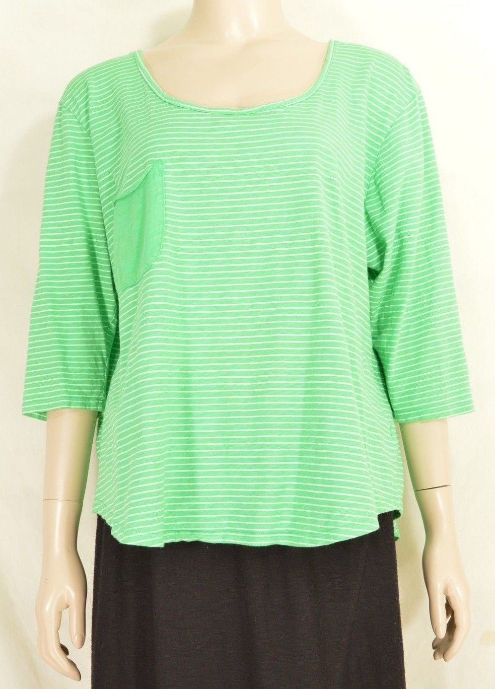 1 Fresh Produce top OSFM knit 3/4 sleeve green with tonal green stripes USA 13