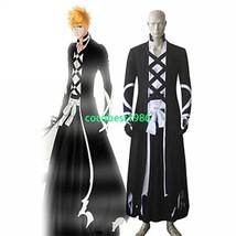 Bleach Ichigo Kurosaki Bankai Black Cloak Kimono Cosplay Costume - $64.52