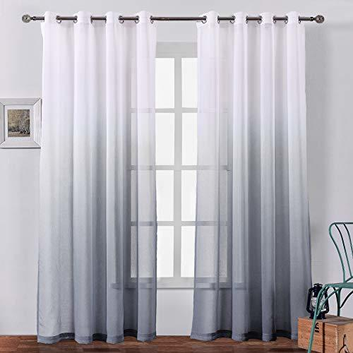 Bermino 54 X 95 Inch Sheer Curtains Grommet Ombre Semi