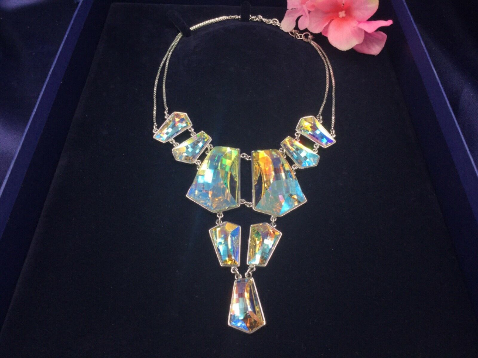 Primary image for AUTHENTIC SIGNED SWAROVSKI EVENING LARGE AURORA BOREALIS NECKLACE 1014366 ~RARE~