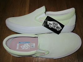 5ecb439747 Vans Mens Slip on Pro Ambrosia Green White Suede Canvas Skate shoes Size.
