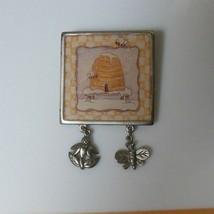 Vintage SFJ Silver-tone Bee Hive Dangling Charm Brooch - $18.80