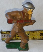 Vintage Barclay Manoil Toy Soldier in Gas Mask Charging Broken Rifle Cast Lead