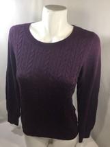 Talbots Women Purple Blouse Scoop Neck Long Sleeve Thin Fabric Petites Size M - $14.95