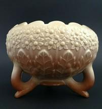 Fenton Orange Tree Art Glass Footed Rose Bowl Beige / Brown - Mint! - $39.50