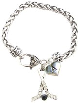 Custom Hockey Sticks Silver Charm Bracelet Jewelry Choose Initial All 26... - $15.19