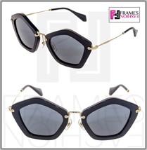 Miu Miu Culte Mu 06O Shiny Black Gold Mirrored Sunglasses MU06OS - $227.70