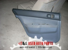 2005 MITSUBISHI LANCER LEFT REAR DOOR TRIM PANEL BLACK TOP AND GRAY BOTTOM