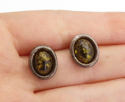 Primary image for 925 Sterling Silver - Vintage Cabochon Cut Amber Oval Drop Earrings - E9590