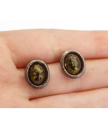 925 Sterling Silver - Vintage Cabochon Cut Amber Oval Drop Earrings - E9590 - $26.35