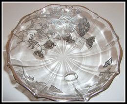 New Martinsville Footed Candy Bowl with Flanders Sterling Silver Floral ... - $28.00