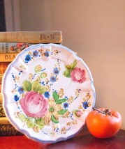 K JAPAN HAND PAINTED PLATE CABBAGE ROSES VINTAGE LUNCHEON BLUE CERAMIC 1... - $99.99