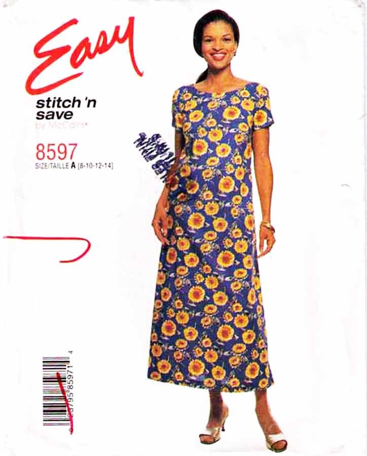 1997 Misses' PULLOVER DRESS Pattern 8597-m  Size 8-10-12-14 - UNCUT
