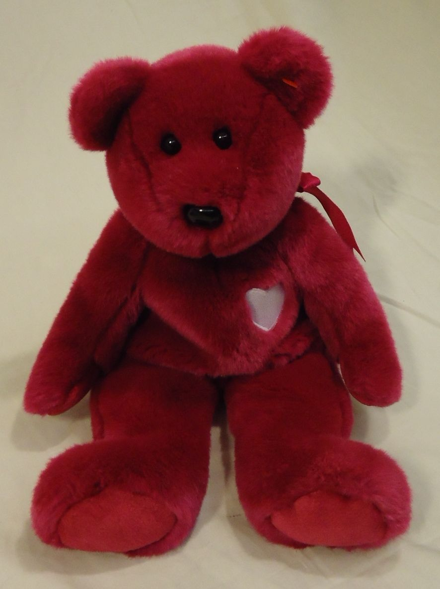 Ty 58-52ty * Beanie Buddies Magenta Bear 14in Plastic Fabric