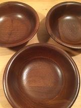 Set of 3 70s Ozark solid walnut salad bowls image 8