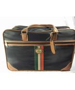 Vintage Fitnesse by Verdi Suitcase Clothe Blue Tan Red Stripe Faux Leather - $34.65