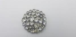 Vintage 1940-50s Silver Tone Big Multi Shaped Rhinestone Circle Pin / Br... - $29.02