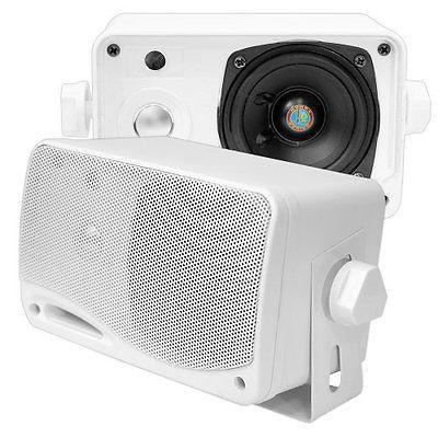 """NEW Pyle 3.5"""" 200w 3-Way Weather Proof Mini Box Outdoor/Marine Speakers White for sale  USA"""