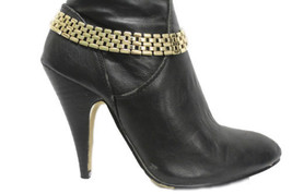 Women Western Boot Bracelet Gold Metal Chunky Wide Chain Links Anklet Shoe Charm - $17.63
