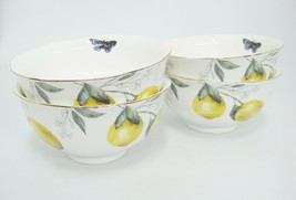 Gracie China Dessert Rice Bowls Set of 4 Lemon Pattern Butterfly Gilded ... - $17.81