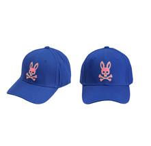 Psycho Bunny Men's Strapback Two Tone Skull Logo Deep Royal Baseball Cap Hat