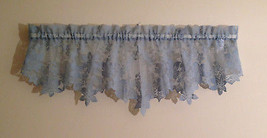 "Blue Floral Dotted Lace Scalloped Valance 60"" Made in USA 2 Available - $12.87"