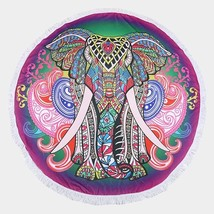 Elephant Round Beach Terry Towel with Tassel Trim 336578 - $37.47 CAD