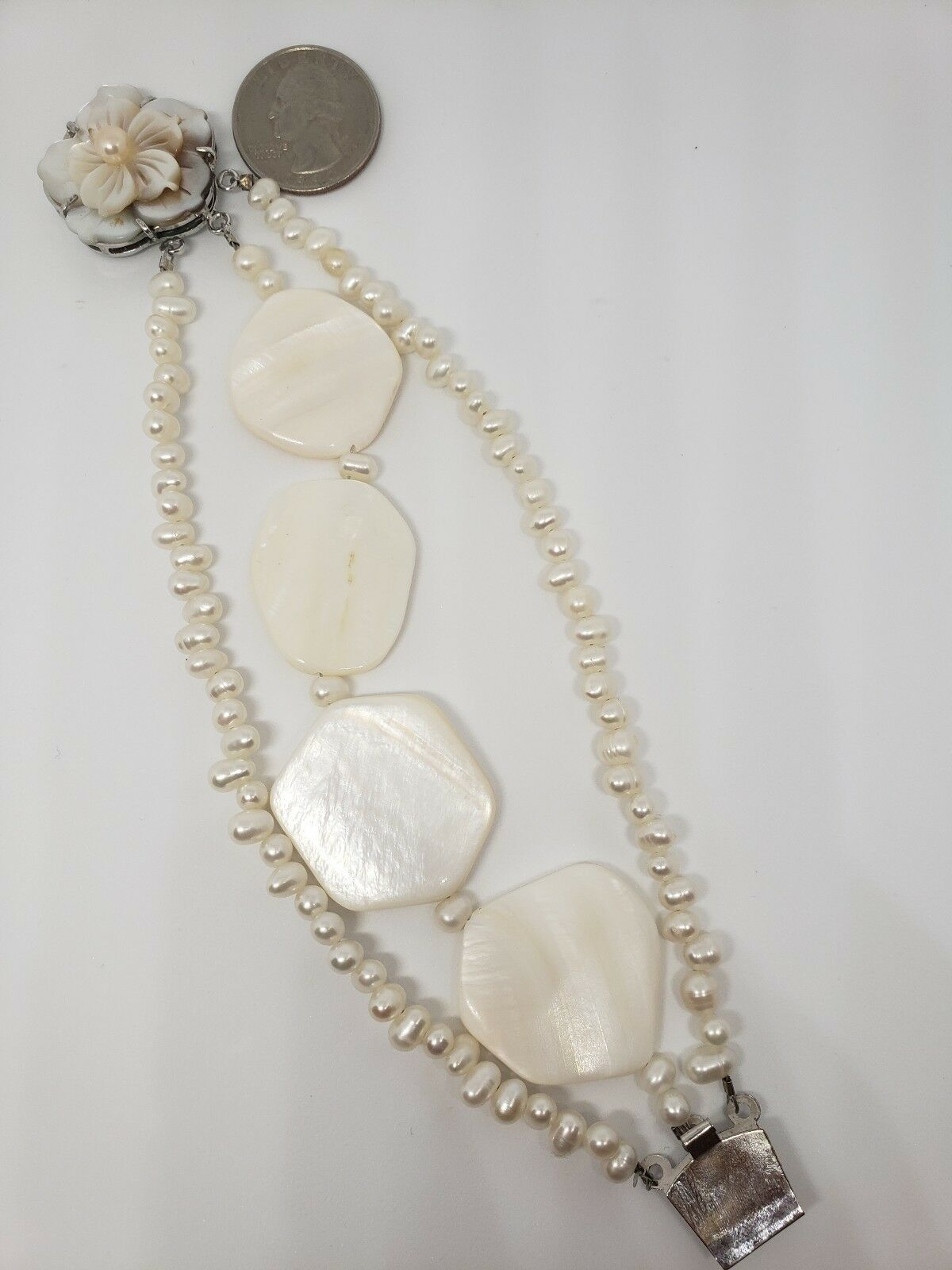 Womens Unique Vintage 1960s Flower Mother Of Pearl With Culivated Pearls...