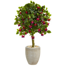 3' Purple and Pink Blooms Fuschia Artificial Tree in Sand Colored Oval Planter - $123.41