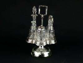 Boston Silver Flint Castor Set, Antique 1862 Mercury Glass Grape Etch Cu... - $147.00