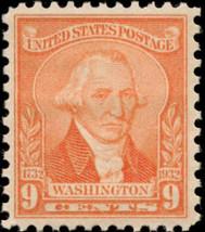 1932 9c Washington, William Joseph Williams, Pale Red Scott 714 Mint F/V... - $3.25