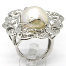 925 SILVER RING, PEARL BAROQUE WITH FRAME, FLOWER, MADE IN ITALY image 3