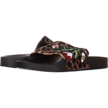 Steve Madden Patches Flat Slide Sandals 602, Black Multi, 6 US - $30.71