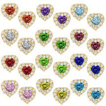 Heart Halo Stud Push Back Earrings 925 Sterling Silver 14K YGP Birthstone - $25.46+