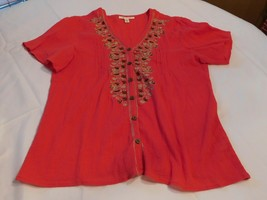 Womens ladies JM Collection blouse top shirt Size 10 Red button up GUC* - $19.05