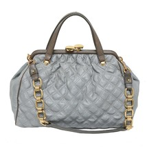 Authentic Marc Jacobs Gray Quilted Coated Canvas Stam Satchel Bag Gold Tone Hw - $558.09