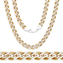 5.7mm 2-Tone Sterling Silver 14K Y Double Curb Cuban Link Italian Chain ... - $99.89+