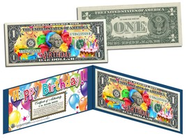 HAPPY BIRTHDAY Keepsake Gift Colorized $1 Bill U.S. Genuine Legal Tender... - $8.86