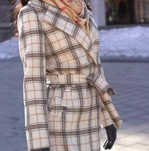 Women's Beige Khaki Plaid Full Length Winter Trench Coat image 4