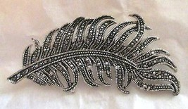 "Vintage Feather Faux Marcasite Silver tone pin brooch 2.75""  - $24.74"