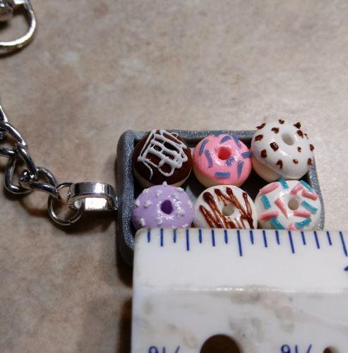 Cute Donut Tray Keychain Clay Food Bakery Frosted Breakfast Women's Accessory