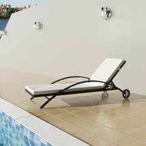 vidaXL Sun Lounger Poly Rattan Wicker Black Outdoor Bed Chaise Seating G... - $116.99