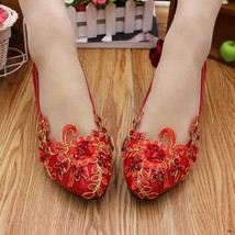 Red Women Bridal Shoe Ballet Flats/Wedding Flat Shoes,Red Lace Bridal shoes - $38.00