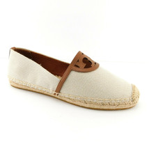 New Tory Burch Size 8.5 Sidney Natural Canvas Logo Espadrilles Flats Shoes - $159.00