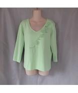 KIKIT Maurice Sasson sweater L green embellished beads flowers V neck 3/... - $14.65