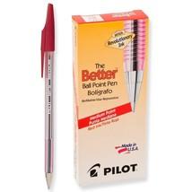 Pilot The Better Ballpoint Stick Pens Medium Point Red Ink Dozen Box (37... - $14.96