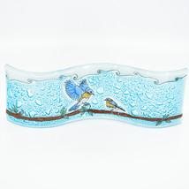 Fused Art Glass Bluebirds Birds on Branch Wavy Sun Catcher Handmade Ecuador