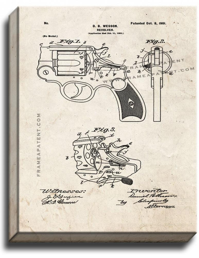 Primary image for Wesson Revolver Patent Print Old Look on Canvas